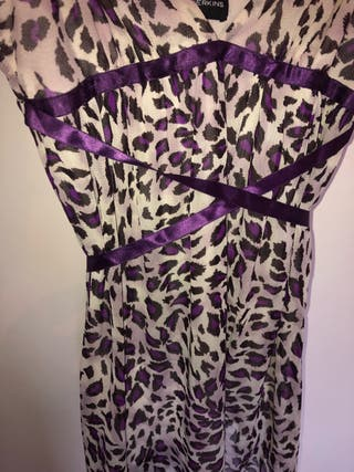Vintage purple leopard print slip dress