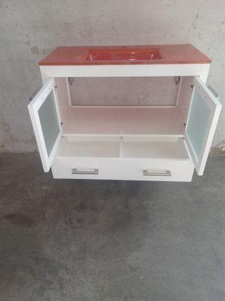 Muebles De Bano Naranja.Mueble De Bano Suspendido 90 Cm Blanco Naranja De Segunda Mano Por