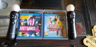 just dance 4+Sports champions 2+2 mandos PS move
