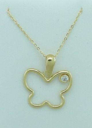 Colgante de oro en forma de mariposa con circonita