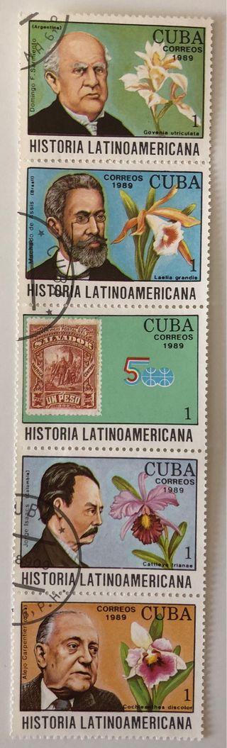 Tira de 5 sellos CTO Cuba 1989- histª latina