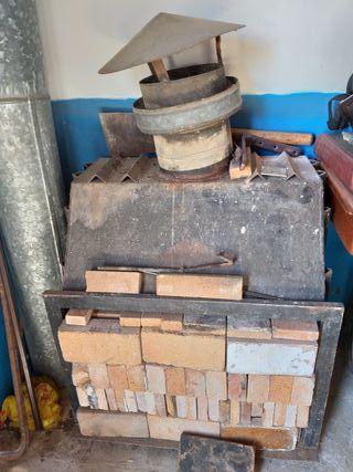 estufa metálica para ,casita de campo