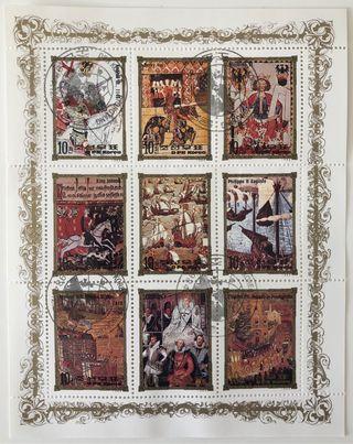 HB de 9 sellos CTO Corea- reyes de Inglaterra