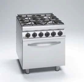 Cocina gas 4 fuegos potenciados y horno eléctrico