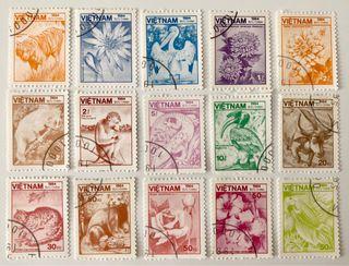 Lote de 15 sellos CTO originales de Vietnam