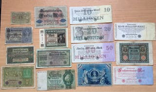 Lote 15 Billetes ALEMANES diferentes. Desde 1908