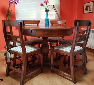 Mesa de madera para comedor con 6 sillas