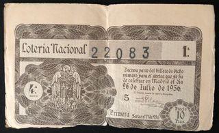 Billete de lotería 1956 + regalo filatélico