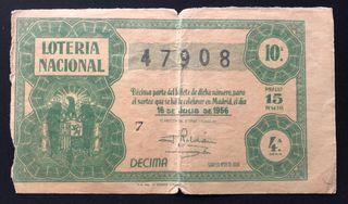 Billete de lotería nacional de 1956 + regalo filat