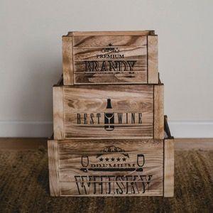 Conjunto de tres cajas de madera para decorar