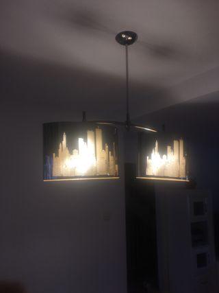 Lámpara Nueva York y tríptico cuadros