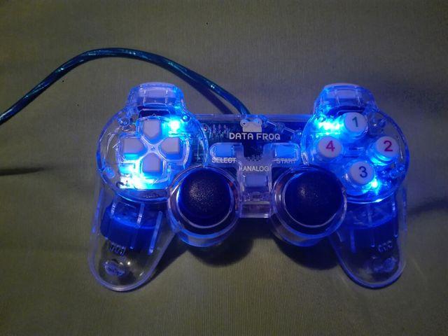 Mando usb luminoso azul pc compatible con Ps3
