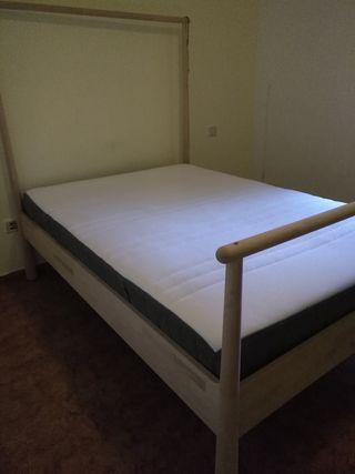 cama completa: estructura + colchón 140cm x 200cm