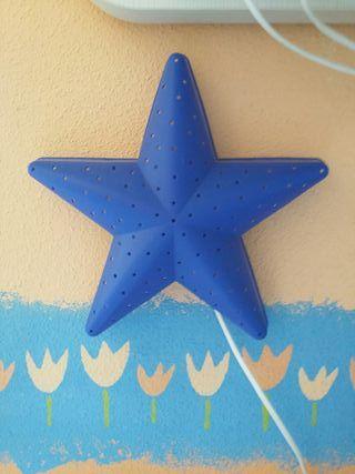 2 lámparas estrella azul ikea