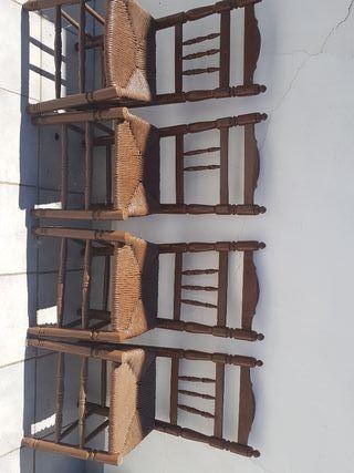 juego 4 sillas de madera