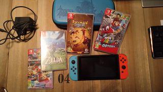 Nintendo Switch + Funda + 5 Juegos