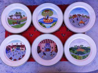 Colección 6 platos porcelana Villeroy & Bosh
