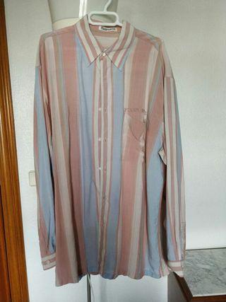 Camisa Vintage Chorreras Azul Rosa Palo