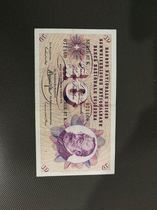 billete suiza 10 francs 1973