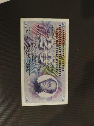 billete suiza 20 francs 1965