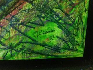 cuadro al oleo. purpurina y otros materiales