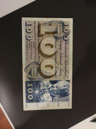 billete suiza 100 francs 1956