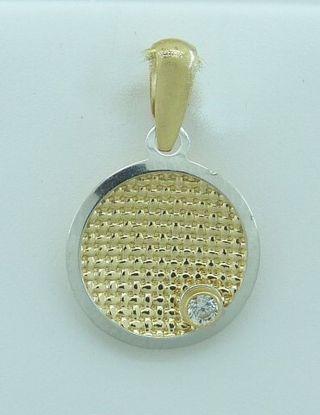 Colgante de oro bicolor de 18 kilates y circonita