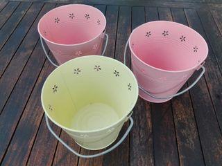Lote 3 cubos chapa pintada rosa y amarillo