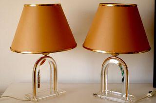 Pareja mesa de de de en vintage metacrilato segunda lámparas 5RAjL34