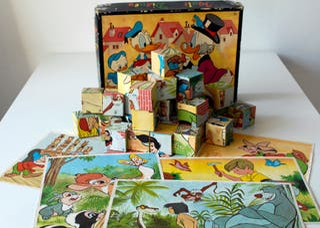 Rompecabezas cubos de cartón. Walt Disney. Años 70