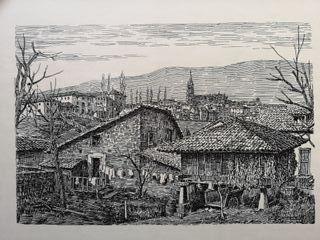 Grabado aldea asturiana de Alfonso Iglesias