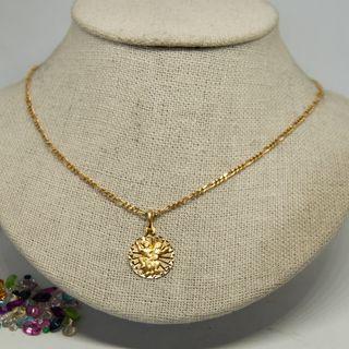 Medalla pareja con cadena, de oro de 18k