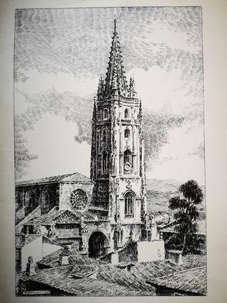 Grabado Catedral de Oviedo por Alfonso Iglesias
