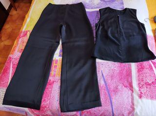 pantalón y blusa de raso