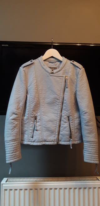 South Baby Blue Leather Jacket