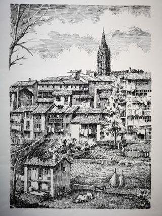 Grabado de ciudad de Oviedo por Alfonso Iglesias