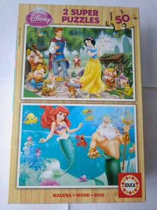 2 super Puzzles Disney La sirenita y Blancanieves