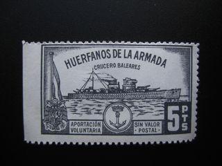 SELLO FISCAL TIMBRE HUERFANOS DE LA ARMADA 5 PTS
