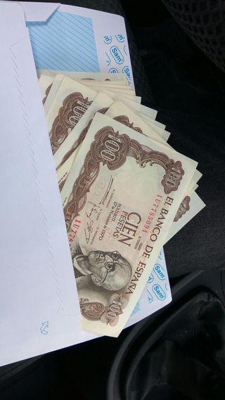 Billetes de 100pts de 1970, baratos