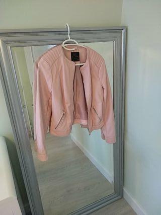 chaqueta biker rosa palo