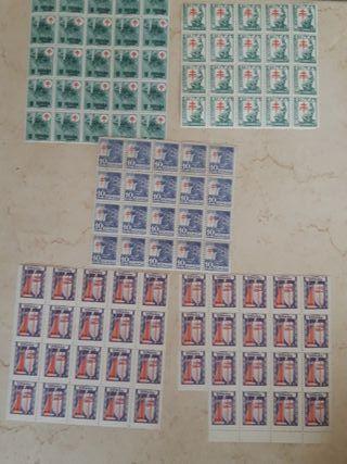 Lote 5 hojas de sellos antiguos, vintage