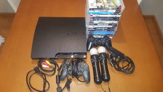 Consola Ps3 + mandos + 15 juegos