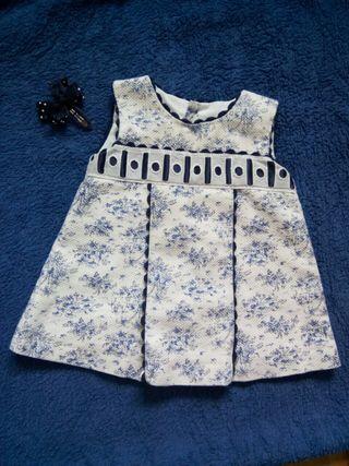 Vestidito piqué blanco/azul talla 6-9 meses