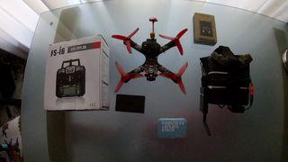 drone fpv + gafas quanum + emisora flysky