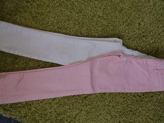 Lote de 2 pantalones vaqueros niña rosa y blanco