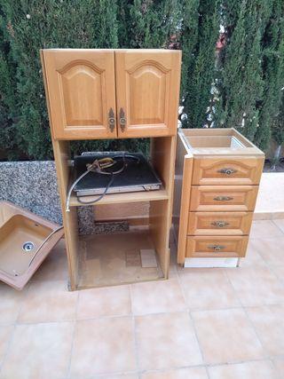 2 muebles de cocina marmol y fregadero