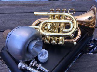 Trompeta pocket bolsillo Bb Carol Brass sordina