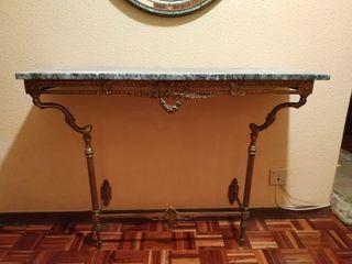 Mesa recibidor mármol bronce vintage