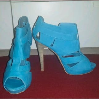 Blue Summer Party Ankle Stilettos Heels Size 5