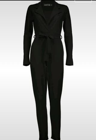 Sexy Deep Plunge Black Long Sleeve Jumpsuit Size 8